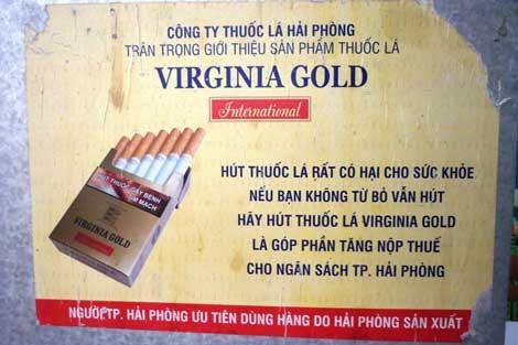 Tờ rơi quảng cáo thuốc lá Virginia Gold.