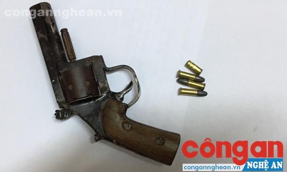 Khẩu súng và đạn bị thu giữ