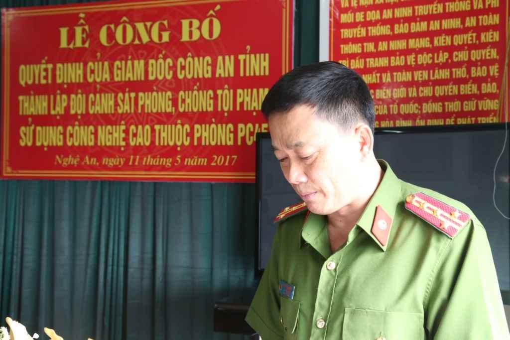 Đại tá Nguyễn Mạnh Hùng, Phó Giám đốc Công an Nghệ An phát biểu tại buổi ra mắt
