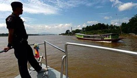 Cảnh sát biên giới Thái Lan tuần tra dọc sông Mekong