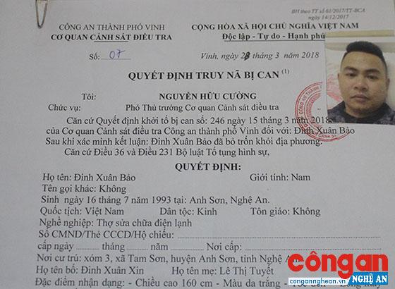 Quyết định truy nã Đinh Xuân Bảo