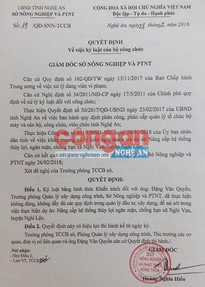 Quyết định kỷ luật cán bộ Sở Nông nghiệp và Phát triển nông thôn Nghệ An