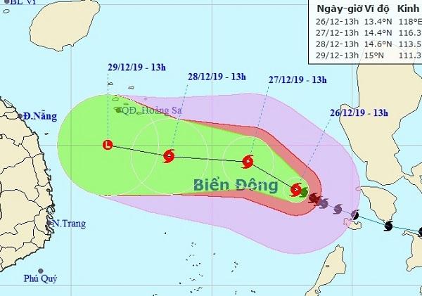 Dự báo vị trí và đường đi của bão PHANFONE. Ảnh NCHMF