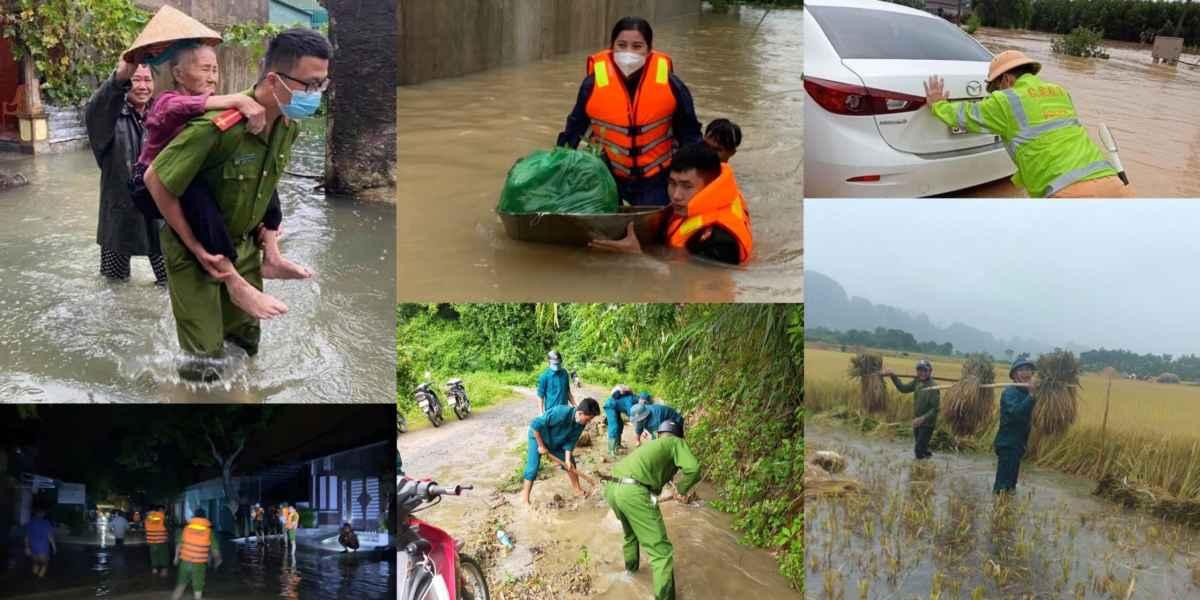 Công an Nghệ An giúp đỡ Nhân dân ứng phó với thời tiết xấu