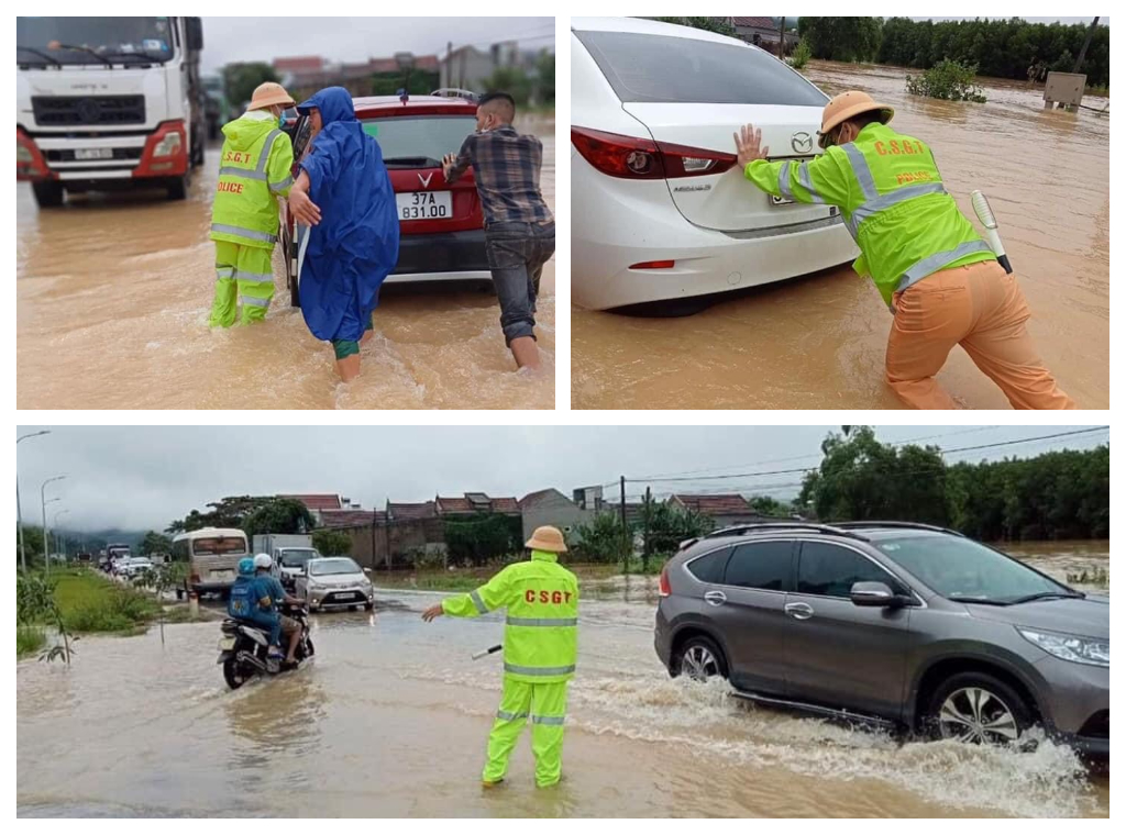 Lực lượng Cảnh sát giao thông Công an Nghệ An vừa điều tiết giao thông vừa giúp đỡ người dân đưa phương tiện ra khỏi vùng ngập nước đợt mưa lũ tháng 9/2021