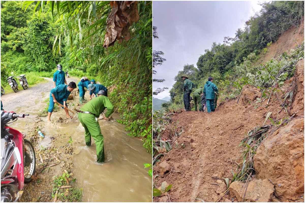Công an huyện Kỳ Sơn cùng bộ đội và chính quyền địa phương khẩn trương giải phóng các tuyến đường bị sạt lở để nhân dân lưu thông, tháng 9/2021